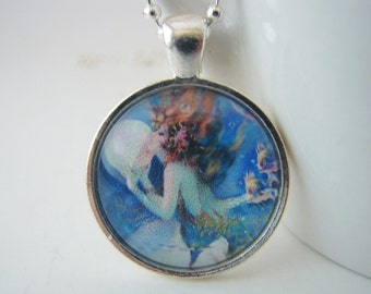 Mermaid Glass Tile Pendant with Free Necklace