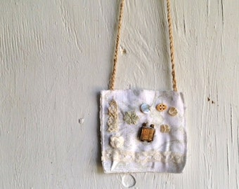 funky shabby white green wearable art summer spring series boho eco rachel ashwell shabby chic pearl lace linen necklace