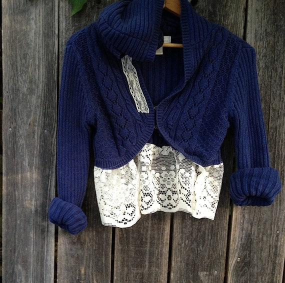 RESERVED FOR SARAH  navy sparkle eco upcycled Rustic prairie Style Rose vintage lace little hoody cardigan shrug sweater