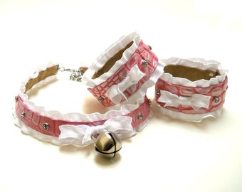 Pink Pearl Leather White Ruffle Ribbon and Bell with Clear Crystals Collar Choker Necklace and Cuff Bracelets Goth Kawaii Cosplay Lolita