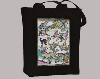Ancient Strange Creatures Illustration Canvas Tote -- Selection of  sizes available