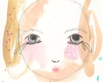 Aceo original, girl illustration, dolls face drawing