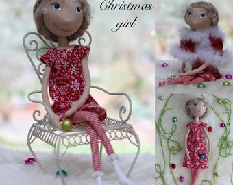 Cloth Doll Sewing e-Pattern & Tutorial Christmas Girl PDF DIY