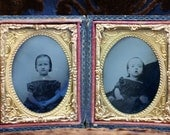 Rare special needs child and sister Victorian photo types in leather and glass case