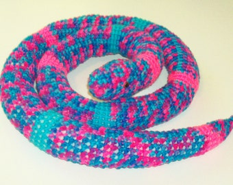 Amigurumi Snake - Turquoise and Pink Confetti Colored   (Finished Doll)