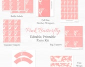 Pink Butterfly Printable Party Kit, Baby Shower, Wedding or Bridal Shower, Party Package, Party Supplies -- Editable, Printable, and Instant