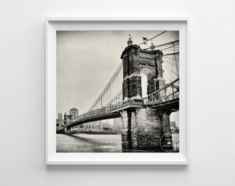 Cincinnati Skyline Black and White Cityscape Roebling Suspension Bridge Square Art Print - Multiple Sizes Available, Fits IKEA Ribba Frames