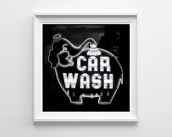 Seattle Art Elephant Car Wash Sign Black and White Photograph, Unique Art, Weird Art - Square Wall Art - Oversized Prints Available