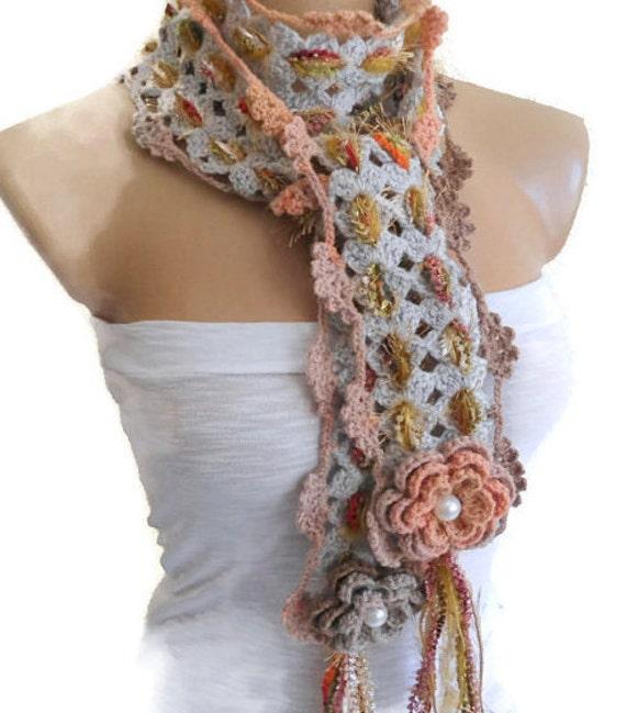 Unique Scarf Floral Neck Scarf Crochet Scarf Christmas