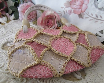 Wet-Look Girl's Handbag / Cosmetic Purse - in Shades of Pink and Tan, Vintage