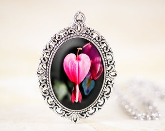 Bleeding Heart Necklace - Hot Pink Flower Jewelry Pendant, Spring Flower Necklace, Nature Photography, Botanical Jewelry, Heart Flower