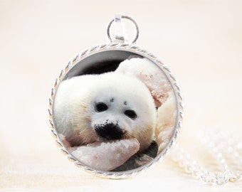 Harp Seal Necklace - Baby Seal Jewelry Pendant, Marine Wildlife Photography Jewelry, White Seal Animal Necklace, Silver Animal Jewelry