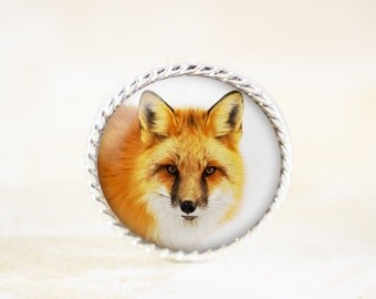 Red Fox Pin - Fox Photography Brooch, Silver Jewelry, Silver Fox Brooch, Silver Fox Jewelry, Silver Animal Jewelry, Fox Animal Pin