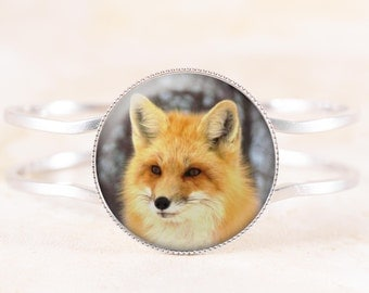 Fox Bracelet - Red Fox Wildlife Jewelry, Silver Bangle, Animal Bracelet