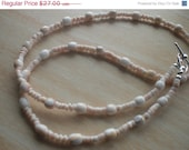 Pink and White Shell Beaded Necklace