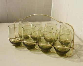 mid century glass set with holder 60s glassware set