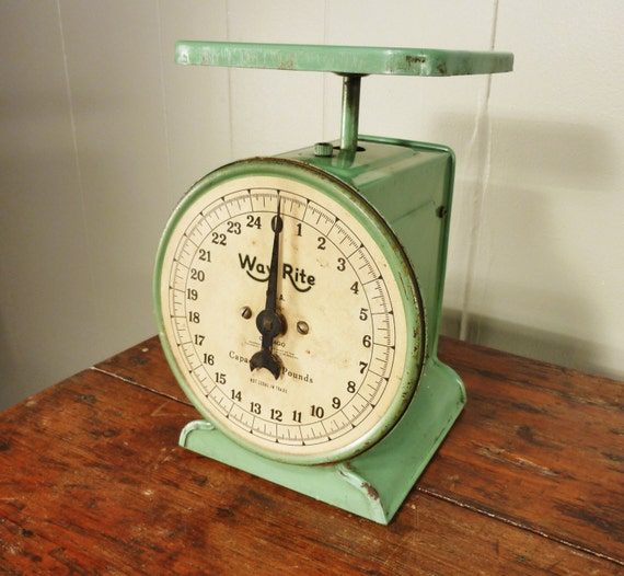 Vintage Kitchen Scales: Vintage Mint Green Kitchen Scale Weight Scale 40s By