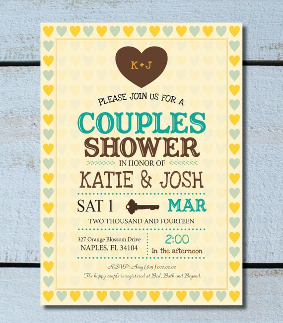 vintage wedding shower couples shower jack and jill invitation