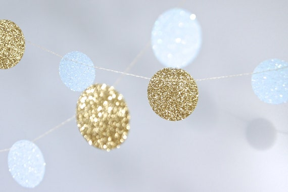 Glitter Paper Garland, Gold and Blue, Bridal Shower, Baby Shower, Party Decorations, Birthday Decoration