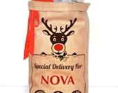 SALE*SALE*SALE* Rudolph Santa Sack, Christmas Stocking, Hessian Sack, Present Bag, Keepsake, For Boys, Girls, Babies, Mums, Dads, Reindeer