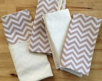 cloth napkins -neutral chevron print - double sided -  6 for 30