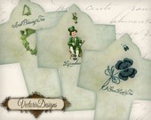 St. Patrick's Day Tea Bag Envelope Keep Calm and Drink Tea instant download digital collage sheet VD0723