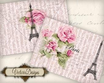 Vintage Paris Envelopes Printable Envelopes instant download digital collage sheet VD0597