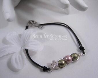 Three Peas in a pod leather bracelet, Black leather, leather pea pod bracelet, Friendship bracelet, Birthday gift