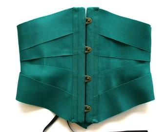 Ribbon Corset Waspie Lingerie Cincher Belt / Forest Emerald Green Petersham Black Antique - PETERSHAM RIBBON CORSET Ready-to-Ship