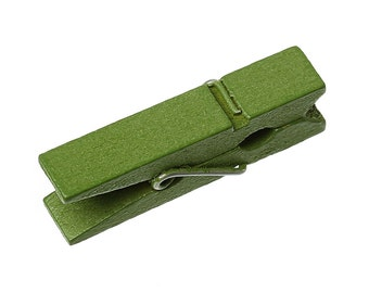 50 bulk package Small Painted Wood Clothespin Clip Findings, OLIVE GREEN  fin0237