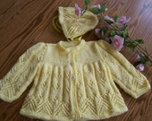 New hand knit Sweater  and Hat set for 0-3 months in Sunshine Yellow