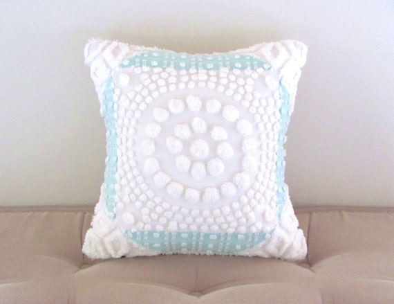 Shabby Chic Pillows Target : aqua cushion cover WHITE TARGET vintage chenille pillow cover
