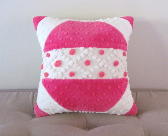 pink chenille pillow cover PINK POPS hot pink geometric minky cushion cover vintage chenille