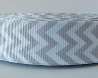 Grey 22mm Chevron Grosgrain Ribbon