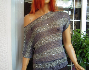 MADE TO ORDER  sweater handmade sparkle sequined top/grey sweater with stripes /party top/silk top gift idea for her by goldenyarn