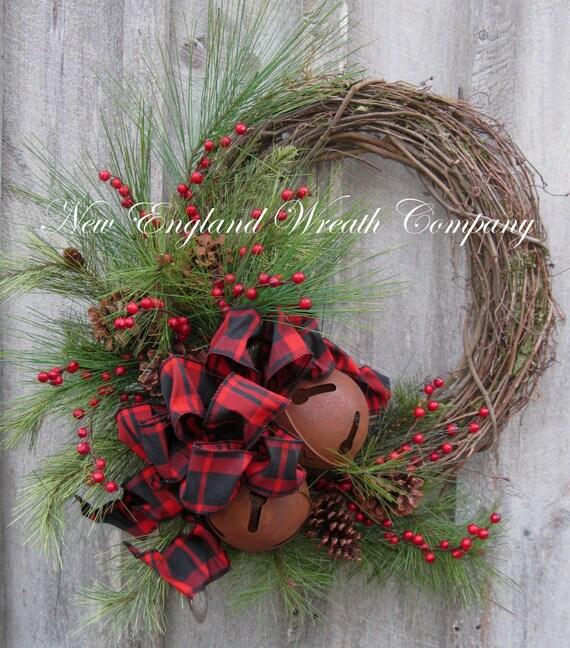 Christmas Wreath Holiday Wreath Sleigh Bells Country