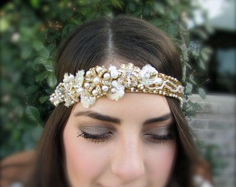 Bridal headband hand embroidered gold and pearl