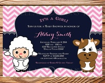 Barn Animals, FARM ANIMALS Baby Shower Invitation, Girl, Boy, Chevron Stripes, Pink, Green, Blue, Lamb, Sheep, Cow, Farm Animals, 1218