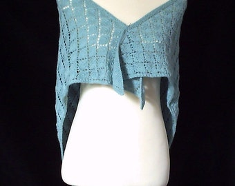 On Sale. Women's hand knitted lacy iced green triangular shawl / wrap.