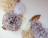 Norah Collection- 7 pom poms- neutrals and gold tones/ vintage wedding/ girl baby shower decoration