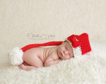 Newborn Santa Hat, Newborn Photo Prop, Newborn Christmas, Christmas Santa Hat, Christmas Elf Hat, Red and White Elf Hat, Newborn Pom Pom Hat