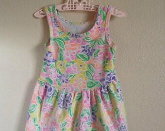 1980's Neon Flowers Dress (18 months)