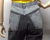 Vintage  80s  High Waisted  2 tone Gray & Black Jeans Waist 26 inches