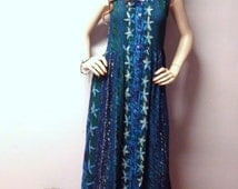 BILA Blues & Greens  Indian Maxi Dress with Silver Lurex pin striping  //  BOHO Festival Gypsys Sz Medium