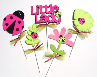Pink and Green Ladybug Themed Party Centerpiece Sticks Set of 5  Birthday Party Decoration