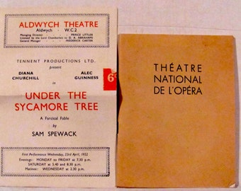 Vintage 1950's Theatre National De L'Opera Program