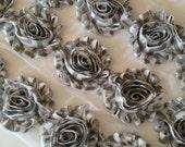 "Gray Chevron Shabby Rose Trim 2.5"" Shabby Flowers Shabby Chiffon Flowers - Printed Shabby Chic Trim Wholesale Rosette trim 6cm 1 yard grey"