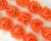 "Orange Petite Shabby Rose Trim 1.5"" small Shabby Flowers Mini Shabby Chiffon Flowers Chiffon Flower Shabby Chic Wholesale 3cm #P206"
