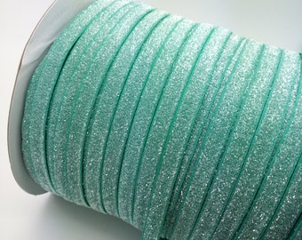 "Frosted Glitter Elastic Aqua 3/8"" Glitter elastic No flake stretch Glitter elastic trim skinny  baby headband elastic 3, 5 or 10 yards"
