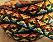 CUSTOM LISTING: Narrow Multi-color Jacquard Trim Ribbon Tribal Native Chevron- 4.5 yards